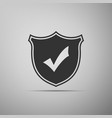 shield with check mark icon on grey background vector image vector image