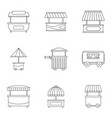 street food truck icon set outline style vector image vector image