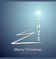 stylized christmas tree greetings on blue isolated vector image vector image