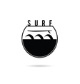 surfboard in water black and white color vector image vector image