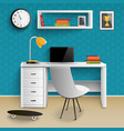 teenager workplace interior realistic vector image vector image