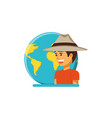 tourist man with hat and world planet vector image