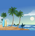 tropical beautiful surfing beach vector image vector image