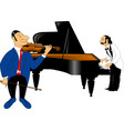 violinist and pianist vector image vector image