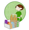 woman cartoon with a basket in a supermarket vector image