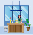 woman reading a book from home vector image