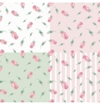 Watercolor pink roses Buds seamless pattern set vector image