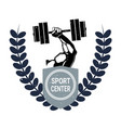 sport center logo with male hand holding barbell vector image