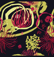 abstract floral collage black background vector image
