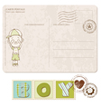 baby boy arrival postcard with set of stamps vector image vector image