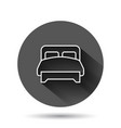 bed icon in flat style bedroom sign on black vector image vector image