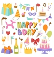 Birthday icons in flat colors style vector image vector image