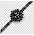 black shiny bow with diagonally ribbon vector image