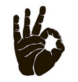 black silhouette okay hand gesture icon graphic vector image vector image