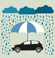 blue umbrella protecting car against rain flat vector image vector image