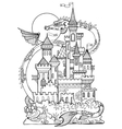 Castle and dragon coloring book vector image