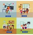 children hobbies square concept vector image vector image