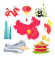 chinese elements map and dragon fan and panda vector image vector image