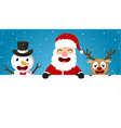 christmas santa claus reindeer and snowmen vector image vector image