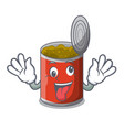 crazy canned food on the tablecloth cartoon vector image vector image