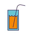 cute orange glass juice cartoon vector image