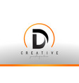 d letter logo design with black orange color cool vector image vector image