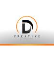d letter logo design with black orange color cool vector image