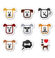 Dog icons set - happy sad angry isolated on whit vector image vector image