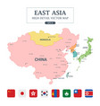 east asia map separated all countries vector image