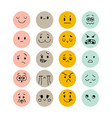 emoji icons set hand drawn funny smiley faces vector image vector image