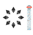 ethereum radial icon with bonus pictograms vector image vector image