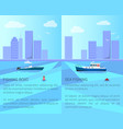 fishing boat in sea with cityscape on horizon vector image vector image