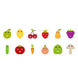 fruits and vegetables funny faces happy emoticons vector image vector image