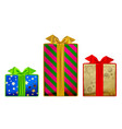 gift boxes of different colors and sizes isolated vector image vector image