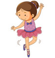 girl in pink ballet outfit on white background vector image vector image