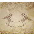 greeting card with birds hand drawn vector image vector image