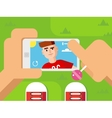 Guy Makes Selfie on Smart Phone Flat Design vector image