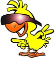 Hand-drawn of an smart chicken with sunglass vector image vector image