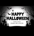 happy halloween graveyard silhouette greeting vector image vector image