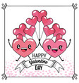 hearts couple with balloons to valentines day vector image vector image