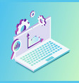 isometric laptop with graphics and settings vector image