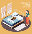 isometric ordinary life background vector image vector image