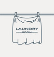 laundry service logo cloth drying on clothesline vector image