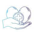 line hands with heart medicine symbol to help the vector image vector image