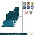 mid atlantic states united states vector image vector image