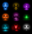 monster face avatar set icon vector image