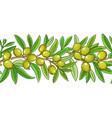 olive branches pattern on color background vector image vector image