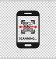 qr code scan phone icon in transparent style vector image