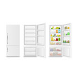 realistic detailed 3d full and empty fridge vector image vector image