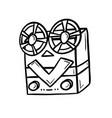 retro bobbins device cinema industry vector image